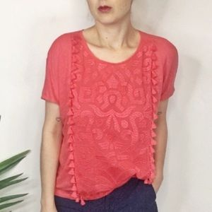 J. CREW 100% linen top embroidered 0280